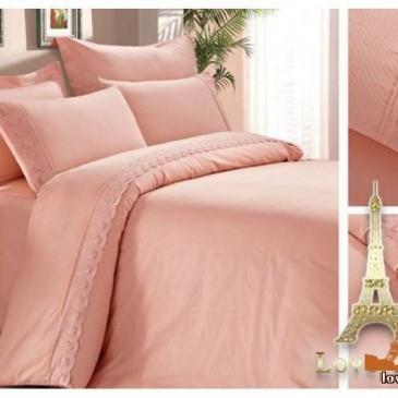 Постельное белье Love You сатин кружево светло-розовый