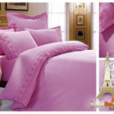 Постельное белье Love You сатин кружево розовый