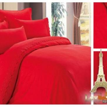 Постельное белье Love You сатин кружево красный