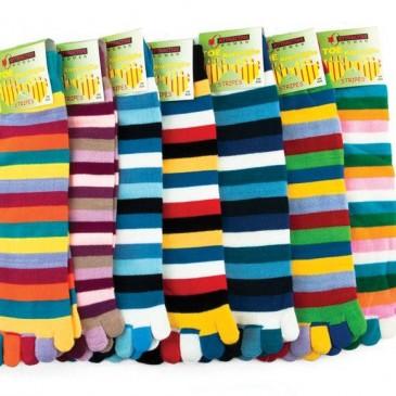 Носки женские Аttractive цветные полоски, с пальцами