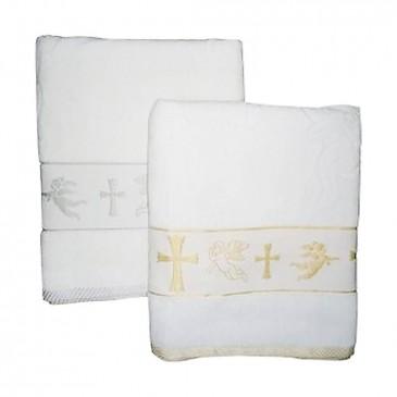 Полотенце для крещения с ангелочками 70*140