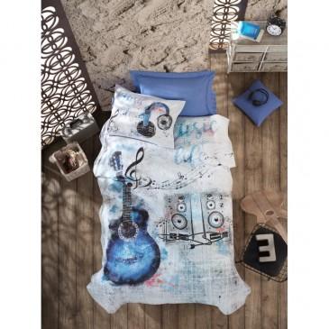 Постельное белье со стеганым пододеяльником Cotton Box Junior  GUITAR