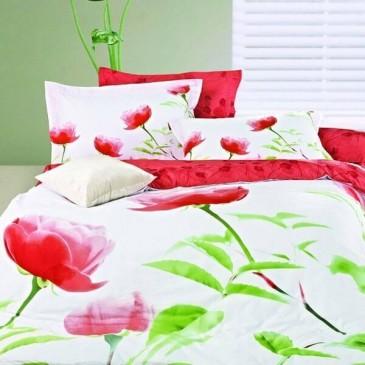 Комплект постельного белья Love You сатин Алый мак