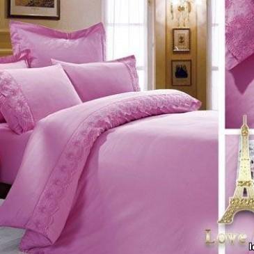 Комплект постельного белья Love You сатин кружево лиловый