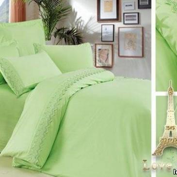 Комплект постельного белья Love You сатин кружево зеленый